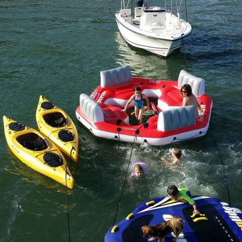 Tubing and kayaks and lounging, what fun!
