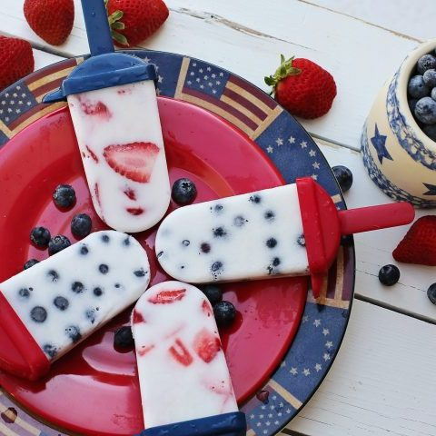 Fourth of July picnic food - ice cream bars and fruit