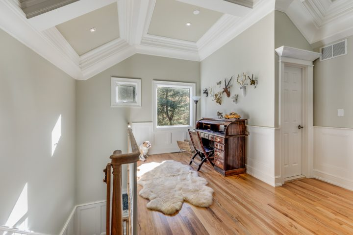Vaulted ceiling and natural light make the 2nd floor study area an appealing spot in HamptonsGetaway, a Hamptons rental.