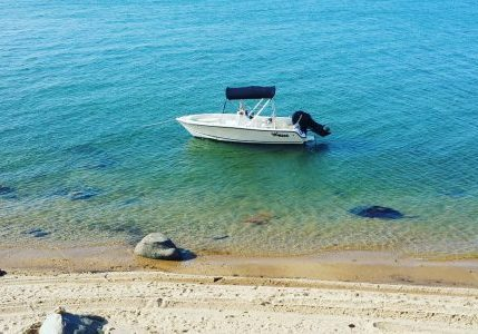 Use the 19' outboard to go ashore for some beach time.