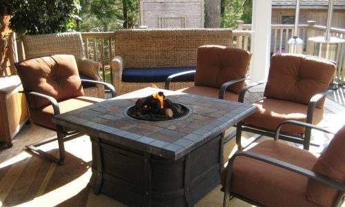 Three-season covered fire pit and TV Lounge.