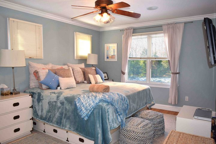 Blue bedroom in HamptonsGetaway, a Hamptons rental.